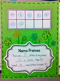 Using ten frames for counting letters in our names. Genius!