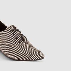 Sapatos derbies com pelo, detalhe às riscas riscas branco/preto Mademoiselle R   La Redoute