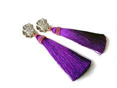 Long Tassel Earrings Flower Bohemian Jewelry Purple Pink Boho Earings Valentine day Ideas for Women Girls Jewellery Dangle Birthday Xmas