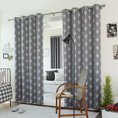 "Best Home Fashion Yellow Arrow Room Darkening Blackout Grommet Top Curtain 84""L - 1 Pair"