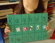 My Name -Create 3 rows Write student name Cut and paste student name foam sticker letter students name their own name Preschool Literacy, Preschool Letters, Kindergarten Class, Name Practice, Name Crafts, Transitional Kindergarten, Letter Identification, Pre K Activities, Early Math