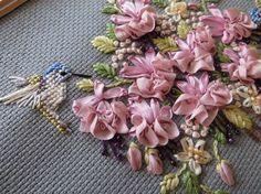 Framed Ribbon Embroidery Pink Ribbon Flowers by GypsyGeranium, $28.00