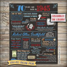 """70th Birthday poster - Back in 1945. Chalkboard digital print. Customize colors. 16x20"""" https://www.etsy.com/listing/230608775/1945-70th-birthday-chalkboard-poster"""
