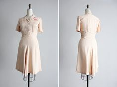 1930s dress / vintage 30s dress / pink silk dress by allencompany, $78.00