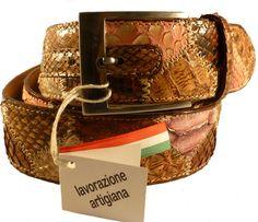 Brown python leather belt for men, Florentine leather