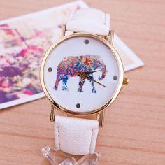 Elephant colorful face Pu leather white band unisex watch