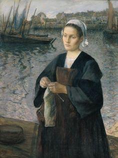 """La esposa del pescador tejiendo"" ""Femme de pêcheur tricotant"" (Museo de Faouet) Henri Guinier (1867-1927) Pintor francés de París."