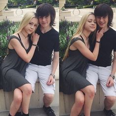Chandler Riggs with his girlfriend Brianna Maphis  — She makes me so happy.
