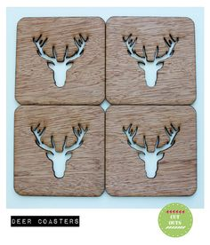 deer coasters by CutOutsProductDesign on Etsy Wooden Coasters, Clock, Unique Jewelry, Handmade Gifts, Etsy, Creative, Christmas, Vintage, Inspiration