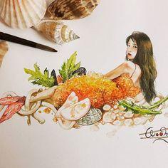 인어공주유 ......... 가아니라새우튀김우동이지롱 @dlwlrma 💛 늦게올려죄송해요ㅜㅜ요즘바쁜일이너무많네요...(수험생분들빠샤빠샤힘힘💪) 감기조심하세요모두!!!!!!!!!! @hyomin1119 님 😊당첨....! #새우튀김#우동#아이유 #팬아트 #수채화 #아트 #iu#art#drawing #painting #nawden #fanart #watercolor #colorpencil #감사합니다❤️ Color Pencil Art, Kpop Fanart, Star Art, Drawing People, Lovers Art, Colored Pencils, Chibi, Art Drawings, Princess Zelda