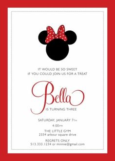 minnie mouse birthday party invitation by ava