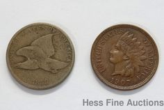 Set of 2 US One Cent Penny 1858 1907 Flying Eagle Indian Head Copper Coins