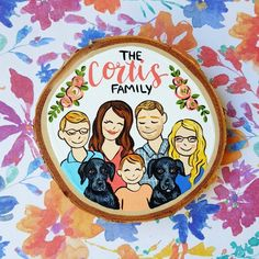 Pre Order, Small family portrait wood slice, to personalized custom painting, will be shipped November 2019 Wood Plank Art, Wood Art, Wood Ornaments, Personalized Christmas Ornaments, Family First Tattoo, Family Tattoos, Flower Tattoo Foot, Flower Tattoos, Rib Tattoos