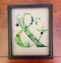 Quilled Ampersand Green & Grey Wedding colors. by Purploon, $25.00