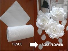 DIY CRAFT  How To Make Kitchen Paper Towel Tissue to Rose Flower - YouTube Tissue Paper Roses, Tissue Flowers, Paper Flowers Craft, Flower Crafts, Crepe Paper Crafts, Toilet Paper Crafts, Nifty Crafts, Diy Crafts How To Make, Kitchen Paper Towel