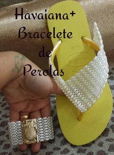 HAVAIANA +BRACELETE  DE PEROLAS +super dicas