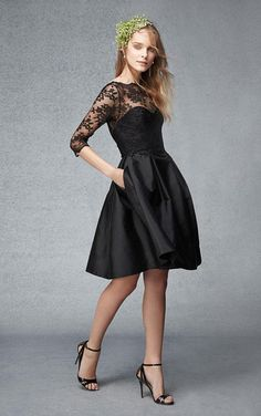 3/4 Sleeves Short A-Line Bateau Black Bridesmaid Dress With Lace