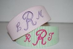 Embroidered Monogram Seersucker Fabric Headband by thesouthernbaby