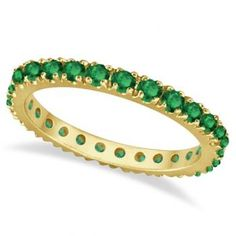 Emerald Eternity Stackable Ring Band 14K Yellow Gold (0.75ct) - Allurez.com