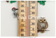 quilled woodpecker & owl - Inna's Creations: Room thermometers with paper quilling