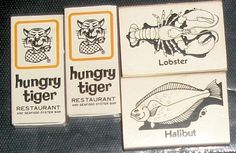 VINTAGE HUNGRY TIGER RESTAURANT SEAFOOD OYSTER BAR CALIFORNIA MATCHBOX