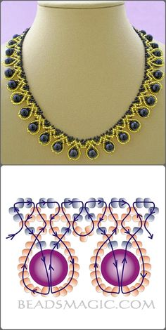 Collar dorado y goldene und blaue Halskette mit Umriss Source by dkrawwczyk Rhonda's Creative Life such a pretty way to manipulate stripes Free pattern for necklace Tend collar blue pearl with seed beads Bead Jewellery, Seed Bead Jewelry, Seed Beads, Beading Jewelry, Diamond Jewelry, Beaded Necklace Patterns, Beaded Bracelets, Diy Collier, Beads And Wire