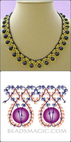 collar dorado y azul, con su esquema