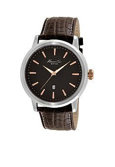 Nice and simple.....Kenneth Cole New York Men's Leather Watch with Brown Dial and Rose Gold Accents