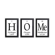 """Home Periodic Table Framed 3 Piece Wall Plaque Set Periodic Table Framed 3 Piece Wall Plaque Set Each Plaque 5"""""""" x 7"""""""" - Geeky Home Decor"""