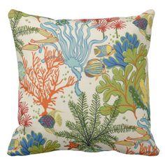 Sea Life Cotton Pillow Throw Pillow  #throwpillows#homedecor#pillows#nautical#sailing#sailors#boating#beachhouse#cabin#beach#ocean#patterns