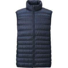 MEN ULTRA LIGHT DOWN VEST (2.860 RUB) ❤ liked on Polyvore featuring men's fashion, men's clothing, men's outerwear, men's vests, mens down vest and mens vest