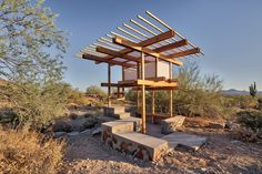 Architecture student Jaime Inostroza has built a tiny pavilion on the campus of the School of Architecture at Taliesin, offering occupants framed views of the Arizona desert.