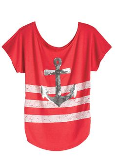 dELiAs > Sequin Stripe Anchor Tee > tops > view all tops