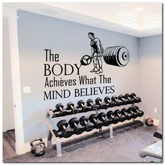 Wall Decals Quotes Sport The Body Achieves Gym Bedroom Decal Vinyl Decor - Tap the pin if you love super heroes too! Cause guess what? you will LOVE these super hero fitness shirts! Workout Room Home, Gym Room At Home, Home Gym Decor, Workout Rooms, Home Gyms, Workout Room Decor, Dream Home Gym, Home Gym Garage, Basement Gym