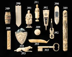 Clarimonde has several beautiful needle cases, of course////Fanciful collection of ivory etuis; needle cases.
