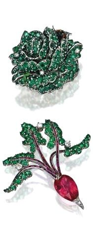 PROPERTY FROM THE COLLECTION OF MRS PAUL 'BUNNY' MELLON: A Group of White Gold and Gem-Set Jewelry. Ring: centering a green enamel ladybug, with round diamonds and sapphires, signed Aaron Basha. Head of lettuce brooch: accented by round diamonds and 10 carats of round emeralds, decorated with an enamel ladybug and worm. Radish brooch set with a pear-shaped 7.80 carat pink tourmaline, the stems with pink tourmalines, the leaves accented by round diamonds and 4 carats of round emeralds.