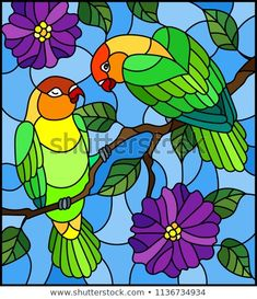 Imagens, fotos stock e vetores similares de Illustration in stained glass style bird Toucan on branch tropical tree against the sky - 778324681 Stained Glass Quilt, Stained Glass Flowers, Faux Stained Glass, Stained Glass Designs, Stained Glass Patterns, Glass Painting Patterns, Glass Painting Designs, Purple Flowering Tree, Paper Flowers Craft