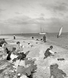Miami circa 1905. On the shore of Biscayne Bay, Florida.
