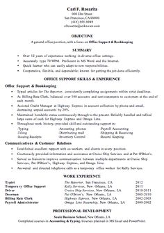 resume sample office support and bookkeeping