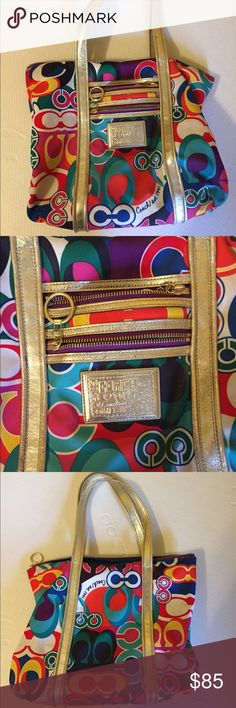 Coach Poppy Tote Good used condition Coach Poppy tote. No. K0932-13839. Make me an offer! Coach Bags Totes