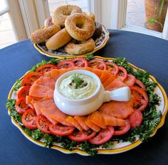 bagel-and-lox-platter.jpg Einstein Begals has a party platter of 13 be gals and the fixings for $69.99. Those begals could be cut in half and then in half or quarters. Very good price point for a taste of New York. https://ebcatering.com/index.cfm?fuseaction=order&product_group_id=90