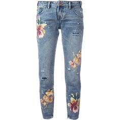 One Teaspoon orchid print distressed cropped jeans ($191) ❤ liked on Polyvore featuring jeans, blue, distressing jeans, multi colored jeans, ripped blue jeans, patterned jeans and blue jeans