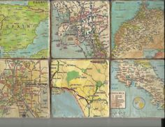 Custom Coasters Made for Your Area Map Pages Decorative Tile Coaster 6 Piece Set, Custom Map Coasters