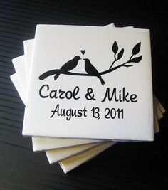 Personalized Tile Coasters, Custom Wedding Date, Set of 4..