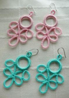 Pitusas & Petetes: 2013 Tatting Earrings, Tatting Jewelry, Crochet Earrings, Needle Tatting, Tatting Lace, Crochet Stitches, Knit Crochet, Tatting Patterns, Doilies