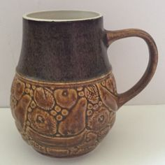 Brown Glazed Fruit Carved Unique Pottery Mug Wide Base Coffee Cup P.2730