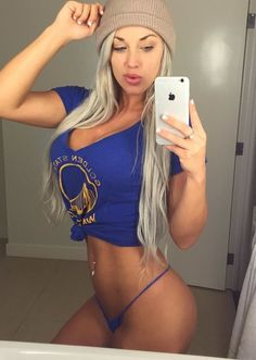 Laci Kay Somers in Blue Panties and a Warriors Shirt