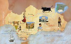 Map of Andalucia by Adam Pękalski