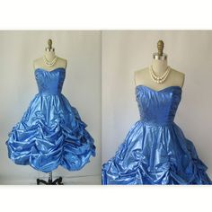 1980's Strapless Lamé Ruched Blue Cocktail Party Prom Dress XS. , via Etsy.