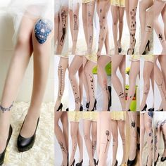 Fashion Lady Women Sexy Sheer Pantyhose Pattern Printed Tattoo Stockings Tights  #New #Tights #Casual